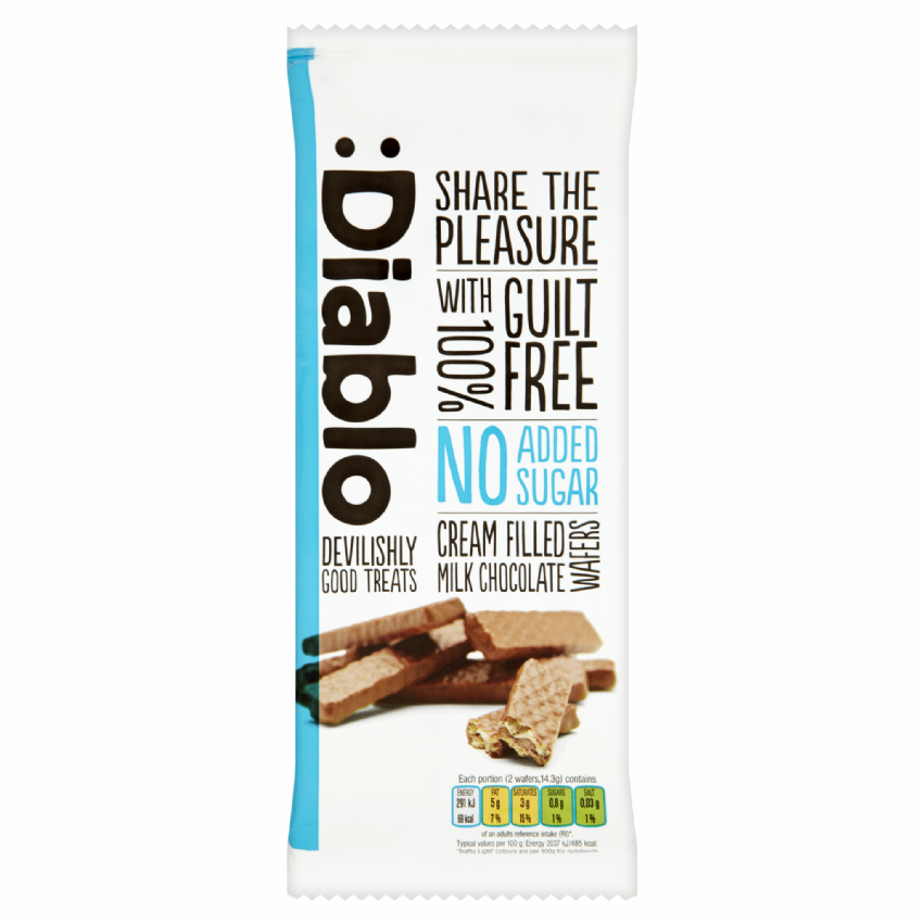Cream Filled Milk Chocolate Wafers Biscuits - No Added Sugar Free Diablo 100g